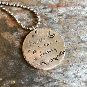 Hand Stamped ENJOY THE JOURNEY Nature Necklace
